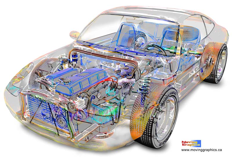 Technical Illustrations of 3D Car Models by Moving Graphics