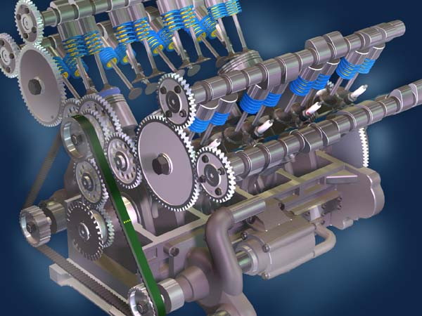 Computer Animation Ford Cosworth V8 Engine