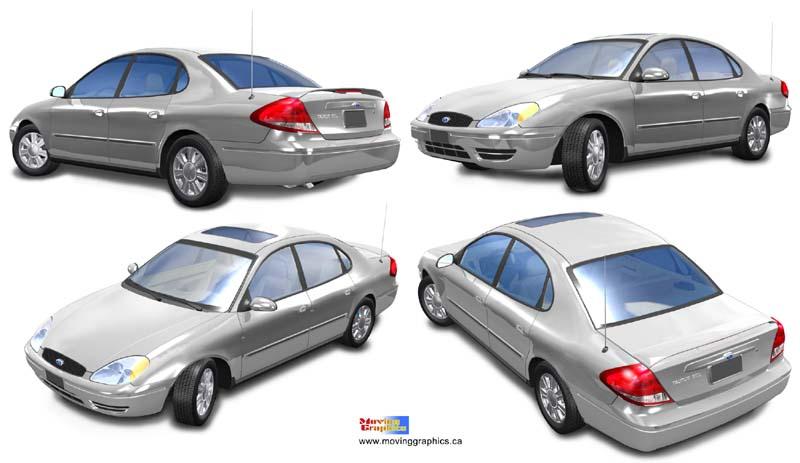 computer 3d car models by moving graphics 3d car model